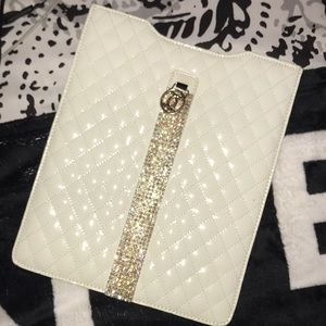 Cute white quilted tablet case